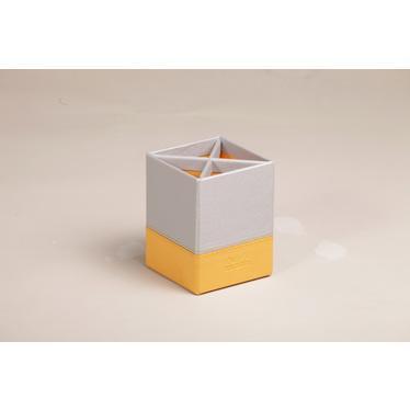 Rhodia 318811C pot /à crayons 4 compartiments 8x8x11 cm simili cuir Argent
